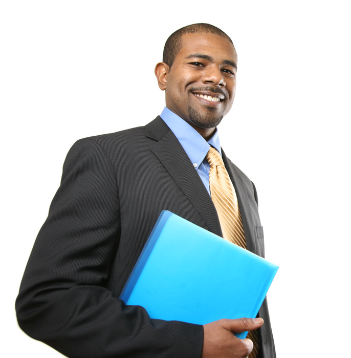 Smiling African American businessman isolated over white background